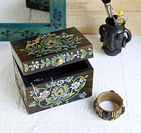 Store Indya Decorative Wooden Trinket Ring Box Small Keepsake Jewellery Accessories Holder Storage Organiser with Hand Painted Floral Design