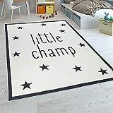 Paco Home Kinderteppich Kinderzimmer Jungen Babyteppich Waschbar Spruch Stern Schwarz Weiß, Grösse:120x160 cm