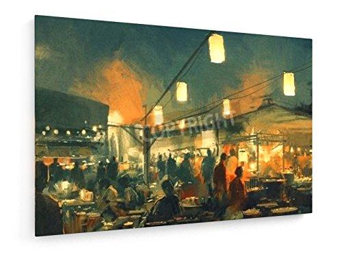 Tithi Luadthong - Markt in der Nacht - 45x30 cm - Textil-Leinwandbild auf Keilrahmen - Wand-Bild - Kunst, Gemälde, Foto, Bild auf Leinwand - Menschen