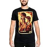 Star Wars Camiseta Hombre Han Solo Chewbacca de Elbenwald Cotton Black - XL