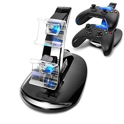 VOIMAKAS Dock Station caricatore per Xbox One, controller doppio USB, caricatore rapido con indicatore LED per controller Xbox One/Xbox One S/Xbox One X Console Dual Shock Charger