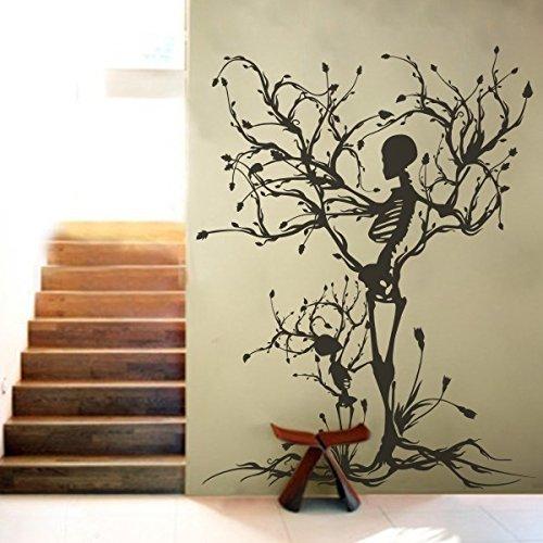 Gothic Wand Aufkleber Halloween Decor Skelett Art Aufkleber Tree Art Wand für Wohnzimmer, Vinyl, schwarz, 50