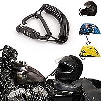 Candado para casco de motocicleta, combinación de pines, cierre de mosquetón, seguro para motocicletas con cable de 1,8 m, casco de bicicleta, chaqueta, armarios, equipaje, resistente al agua, con funda de goma