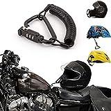 Casco moto con lucchetto combinazione pin nero Chiusura moschettone sicura motocicli con cavo di 6metri, casco per bicicletta, giacca, armadietti lucchetto bagagli impermeabile con guaina in gomma