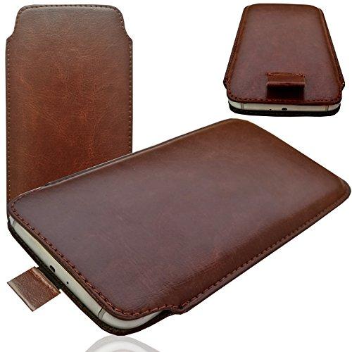 MOELECTRONIX MX Braun Slim Cover Case Schutz Hülle Pull up Etui Smartphone Tasche für Mobistel Cynus E7