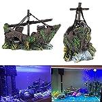 Broadroot Fish Tank Landscape Sailing Boat Shipwreck Shaped Ornament Aquarium Fish Tank Pirate Decor 12
