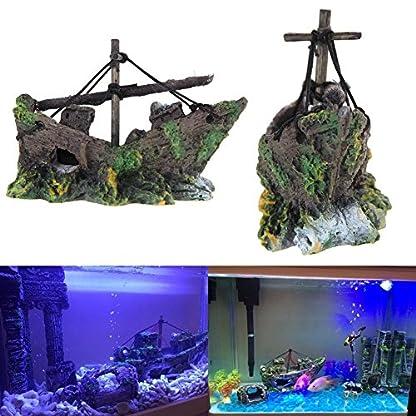 Broadroot Fish Tank Landscape Sailing Boat Shipwreck Shaped Ornament Aquarium Fish Tank Pirate Decor 3