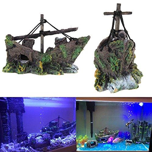 Demiawaking Fisch Tank Höhle Segelboot Schiffswrack Aquarium Dekoration (14)