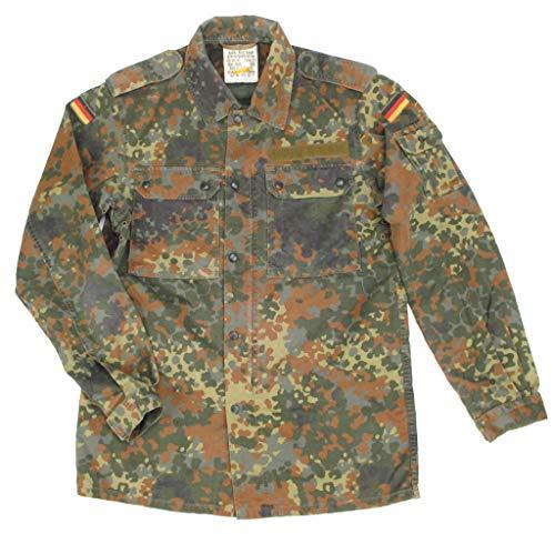 Originale langärmlige Feldbluse der Deutschen Bundeswehr Farbe lecktarn oder Tropentarn Größen 1-20 + 58-66 (9, Flecktarn)