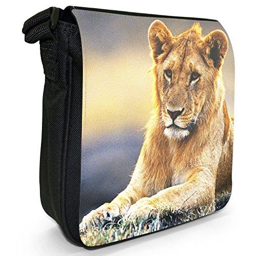 African Lion Big Cat-Borsa a tracolla in tela, piccola, colore: nero, taglia: S Nero (Lioness Relaxing)
