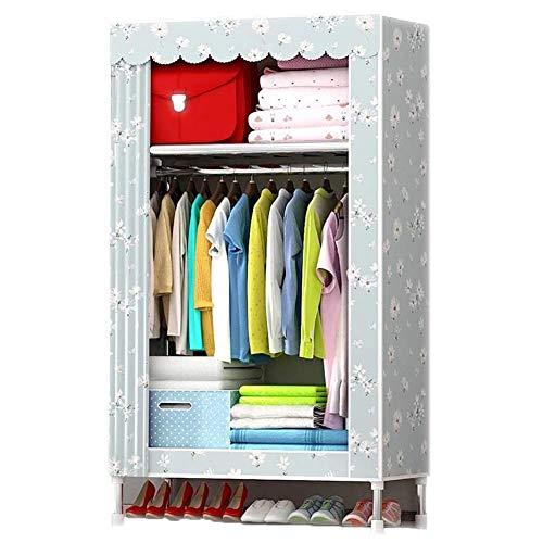 NZ-Wardrobe Portable Storage Closet Organizer, Nylongewebe Stahlrohrrahmen Kleidung Aufbewahrungsbeutel mit Reißverschlüssen 2 Personen hängende Kleidung Veranstalter mit Schubladen, 33x18x69in -