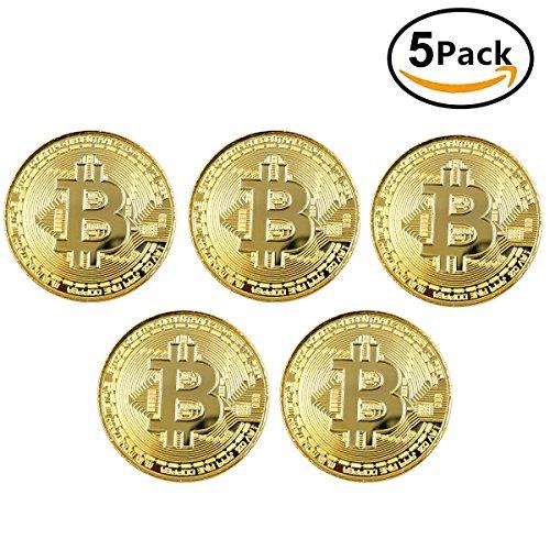Caracteristicas:  Color: Oro  Nombre: Obsequio coleccionable de Bitcoin.  Espesor: 3 mm.  Diámetro: 40 mm.  El paquete incluye: 5 x regalo coleccionable de Bitcoin