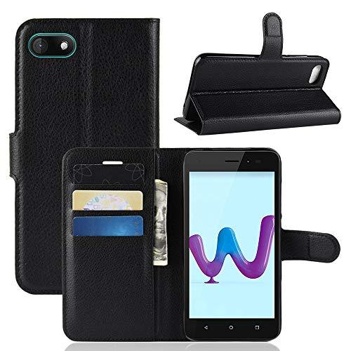 95Street Handyhülle für Wiko Sunny 3 Schutzhülle Book Case für Wiko Sunny 3 Hülle Klapphülle Tasche im Retro Wallet Design mit Praktischer Aufstellfunktion Schwarz
