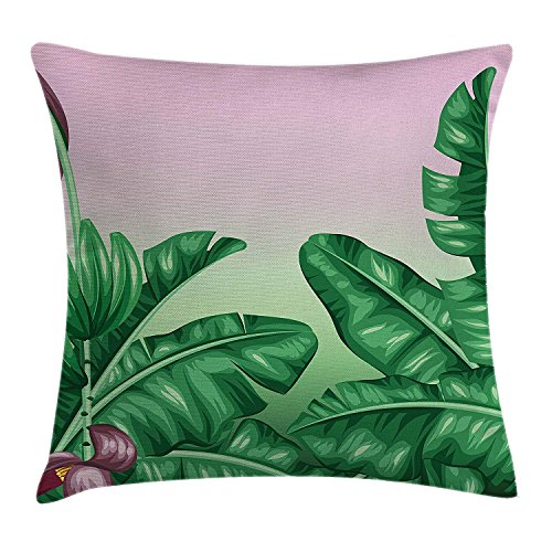 ZTLKFL Botany Throw Pillow Cushion Cover, Exotic Flowering Plants Wild Orchid Blooms Romantic Mother Earth Print, Decorative Square Accent Pillow Case, 18 X18 Inches, Hunter Green Dried Rose International Silver Orchid