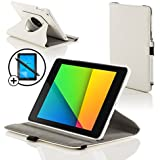 ForeFront Cases® New Google Nexus 7 FHD Rotating Leather Case Cover / Stand For Google Nexus 7 FHD Tablet (7-Inch, 16GB, Black) by ASUS (2013) with Magnetic Auto Sleep Wake Function + Stylus Pen and Sceen Protector Worth £7.50 - WHITE