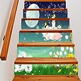 HHYS LT004 Treppen Aufkleber Wasserdicht Selbstklebend DIY Wandgemälde Mond Mädchen Karikatur Muster