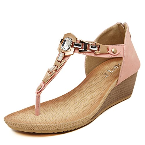 Fecho Flops Aisun Flip Wedge Strass T Moda Metal Sandálias Rosa Senhoras SAwx6Xq