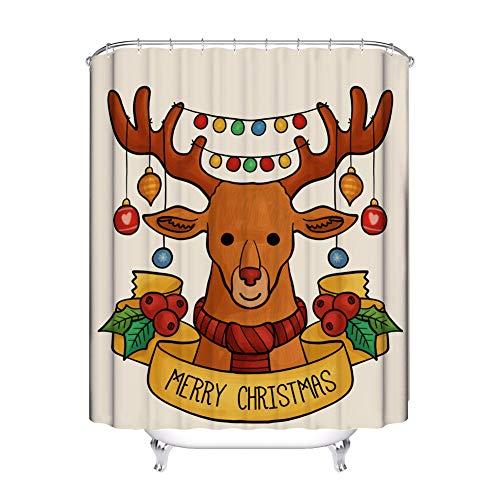 Bigcardesigns Duschvorhang mit Haken, Weihnachtsdesign, afrikanische Frau, Kunst-Dekoration für Zuhause, Badezimmer, Dusche, Badewanne, 70 x 168 cm Xmas-Reindeer (Dusche Vorhang Liner 180x70)