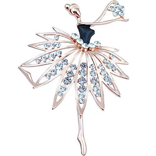 Wimagic 1X Broche Fille dansante de Cristal Broche Bijoux Alliage Broche Fleur Broche Femme Pas Cher Broche Bijoux Vintage Mode Breastpin élégant Mignon Bouto