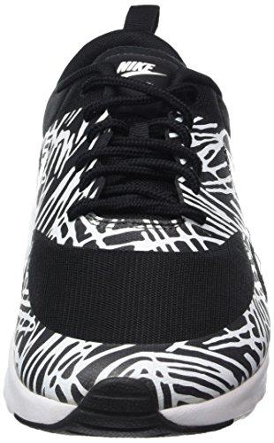 Nike Wmns Air Max Thea Print, Baskets Basses Femme Schwarz (010 BLACK/BLACK-WHITE-MTLLC SILVER)