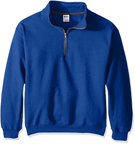 Gildan Men's Fleece Quarter-Zip Cadet Collar Sweatshirt, Royal, Large -