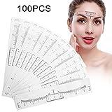 100 PCS Einweg Augenbraue Lineal, für Make-up Schablonen Augenbrauen Microblading Schablone Tattoo Aufkleber Positioniert Augenbraue Sticker Lineal Werkzeug