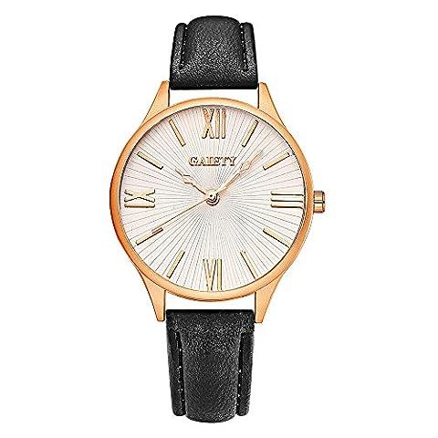 YAZILIND bijoux accessoires cuir Band quartz grand poignet-montre pour femmes filles (noir)