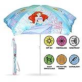 PERLETTI 50427 - Ombrellone Bambina Principesse Disney, Parasole azzurro resistente al vento, Diametro 125 cmm Protezione contro i raggi UV SPF 50+