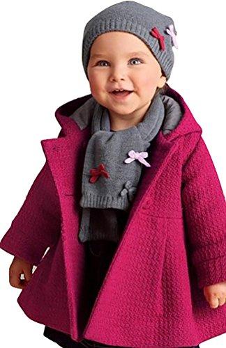 CHENGYANG Baby Mädchen Langarm Jacken Kinder Outwear Wintermantel Down Oberbekleidung Winter Mantel mit Kapuze Rose Asia 80 (Down Beste Jacke)