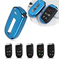 TPU Remote Smart Key Cover Fob Case Shell for Dodge Charger Challenger Dart Durango Journey, Chrysler 200 300, Jeep Grand Cherokee, Renegade - Blue