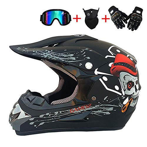 XWXBB off-road motorcycle helmet motorcycle safety helmet men and women motorcycle off-road vehicle off-road endurance sports gloves surprise mask and goggles (Small)