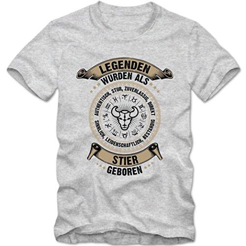 Sternzeichen Stier #2 T-Shirt | Astrologie | Horoskop | Legenden | Herren | Shirt © Shirt Happenz Graumeliert (Grey Melange L190)
