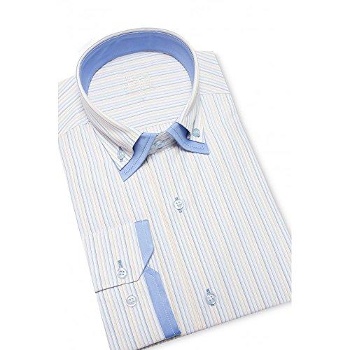J S Chemise Motif Double Style italien pour homme Col boutonné Slim (différentes tailles et couleurs disponibles) Blanc - Blue / Yellow Stripe
