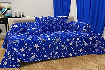 Choice Homes Cotton Diwan Set 8 Pieces Of Combo 5 Cousins 2 Bolster With Single Bedsheet