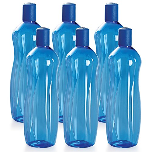 Cello Sipwell PET Bottle Set, 1 Litre, Set of 6, Blue