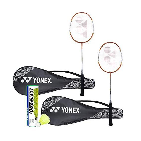 Yonex ZR 100  Light Badminton Combo (Set of 2 Yonex ZR 100 Light  Badminton Racquet with Full Cover  Orange/Orange + Mavis 200I Shuttlecock Pack of 6)