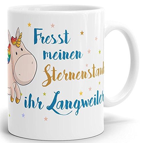 Drucksaal Einhorn Tasse Unicorn mit Spruch Fresst Meinen Sternenstaub Geschenke Kaffeetasse...