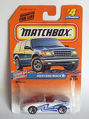 Matchbox 1998-4/75 Stars & Stripes Mustang Mach III New Deco 1:64 Scale by Matchbox