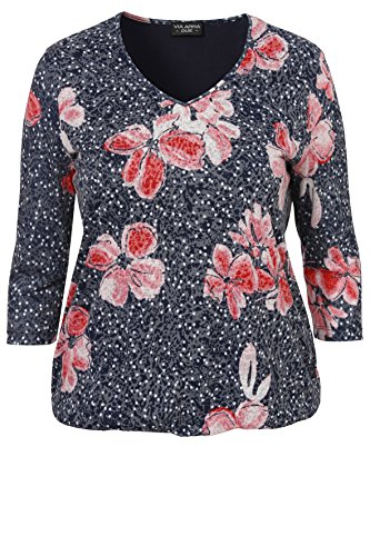 Ude Punkte (Via Appia Due Damen Gepunktetes V-Shirt Flowers)