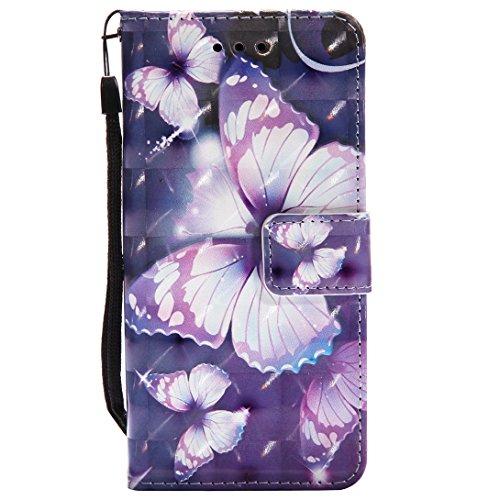 Preisvergleich Produktbild Pheant® für Samsung Galaxy S9 Hülle 3D Effekt Design Schutzhülle PU Leder Tasche Silikon Schale Brieftasche Klapphülle mit Standfunktion Kartenfach und Magnetverschluss Schmetterling Muster