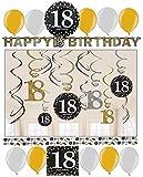 18. Geburtstag Dekoration Deko-Set 'Sparkling' Gold Silber Happy Birthday Partykette Girlande Konfetti Achtzehn Jahre