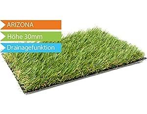 Kunstrasen Arizona mit Drainagefunktion - 2,00m x 1,00m, hochwertige Echtrasenoptik, Florhöhe 26 mm, UV-Sicherer, Wasserdurchlässiger Rollrasen