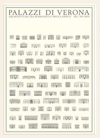 Palazzi di Verona Poster Kunstdruck Bild im Holz Rahmen in Ahorn weiss lasiert 100x68,7cm - Weiß Verona-kunst
