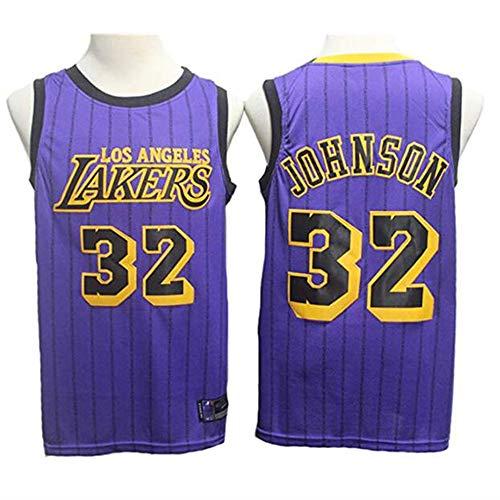 YB-DB Herren Jersey - Lakers 32# Magic Johnson, kühles, atmungsaktives Material, Unisex Basketball Fan Uniform (Größe: S-XXL),M(170~175cm) -