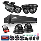 SANNCE 8CH HD-TVI 1080N Security DVR with 6x HD Outdoor Fixed Bullet & Dome CCTV Camera System + 1TB Hard Drive ( HD-TVI Hybrid HVR Realtime Streaming, 1080P Output, Easy Mobile Access, Email Notification, Day/Night Vision)