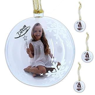 WOP ART 'Juego de 4Bolas navideñas, Foto Bola Snowflake adornan la Bola con tu Foto Favorita