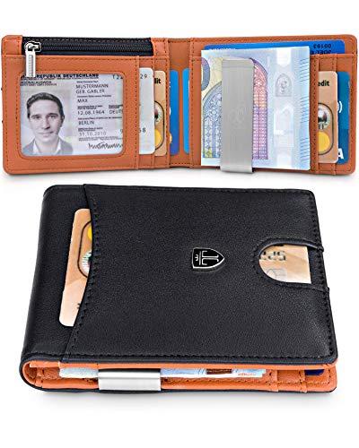 TRAVANDO Portafoglio uomo piccolo con protezione RFID 'FLORENCE' Porta carte di credito con clip per contanti, Portafogli Porta tessere slim tascabile, Portatessere Raccoglitore banconote