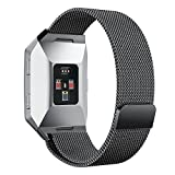 "Fitbit Ionic armband, PUGO TOP Milanese Loop Magnet Edelstahl Armband Strap Band für Fitbit Ionic Smartwatch (Black Large:6.5""-9.9"")"