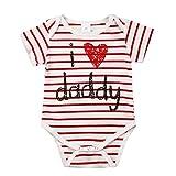 Knowin-baby body Neugeborenen Mädchen Jungen Gestreifter Säuglingsoverall mit kurzen Ärmeln, Papa Strampler Gestreift Liebe Bodysuit Outfits(3M-24M)