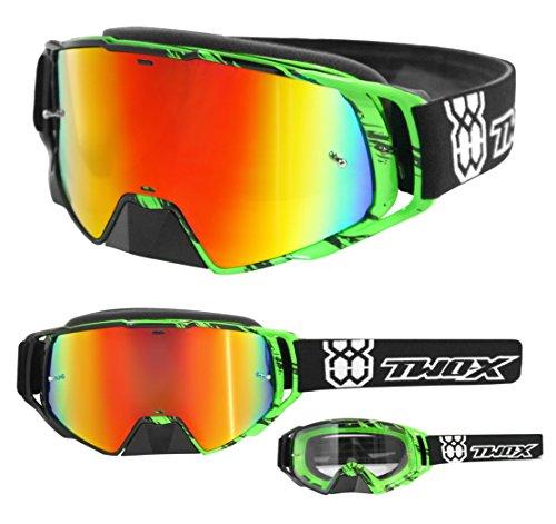 TWO-X Rocket Crossbrille Crush schwarz grün Glas verspiegelt Iridium MX Brille Nasenschutz Motocross Enduro Spiegelglas Motorradbrille Anti Scratch MX Schutzbrille Nose Guard